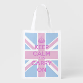 Keep Calm and Carry On Pink and Blue Union Jack Market Totes