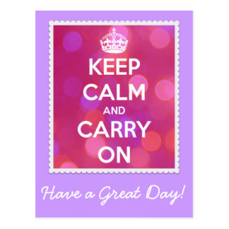 Keep Calm and Carry On Pink Bokeh Postcard