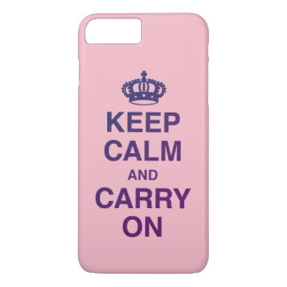 KEEP CALM AND CARRY ON Pink iPhone 8 Plus/7 Plus Case