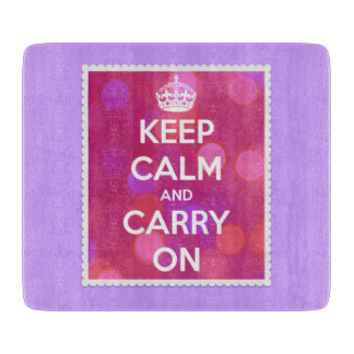 Keep Calm and Carry On Pink Lights Framed Cutting Boards
