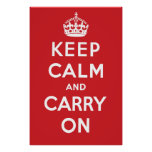Keep Calm and Carry On Poster - Red