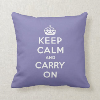 keep calm and carry on -  Purple and white Throw Pillow