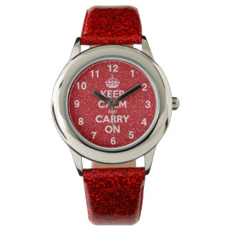 Keep Calm And Carry On Red Glitter Watch