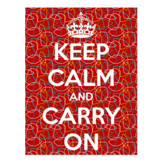 Keep Calm and Carry On Red Retro Pattern Postcard