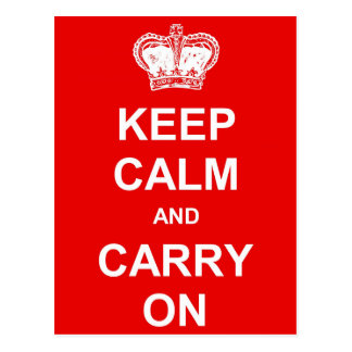 Keep Calm and Carry on Retro Postcard - Red