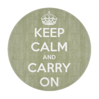 Keep Calm and Carry On Round Sage Green and White Cutting Boards