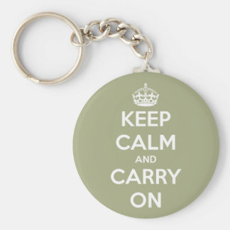 Keep Calm and Carry On Sage Green Basic Round Button Keychain