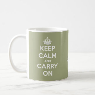 Keep Calm and Carry On Sage Green Personalized Coffee Mug