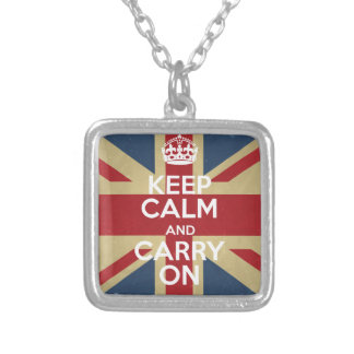 Keep Calm And Carry On Silver Plated Necklace
