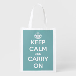 Keep Calm and Carry On Sky Blue Personalized Reusable Grocery Bags