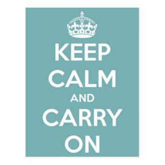 Keep Calm and Carry On Sky Blue Postcard