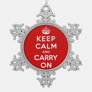 Keep Calm and Carry On Snowflake Pewter Christmas Ornament