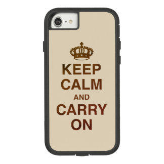 KEEP CALM AND CARRY ON Tan Brown Texture Case-Mate Tough Extreme iPhone 8/7 Case
