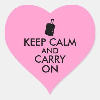 Keep Calm and Carry On Travel Custom Heart Sticker