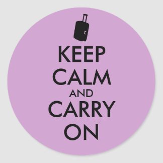 Keep Calm and Carry On Travel Custom Round Sticker