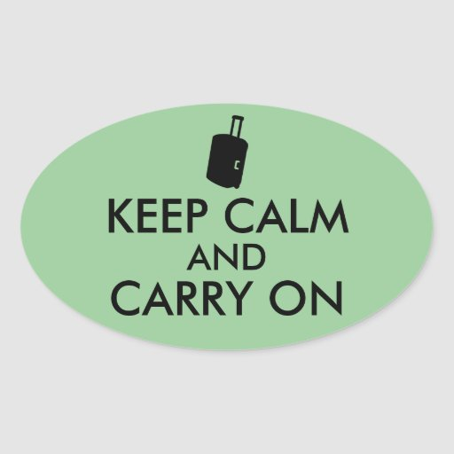 Keep Calm and Carry On Travel Custom Oval Sticker