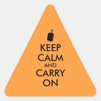 Keep Calm and Carry On Travel Custom Triangle Sticker