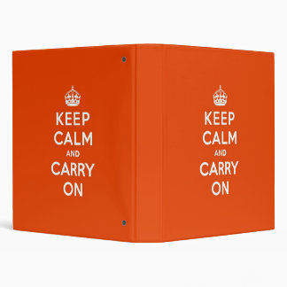 Keep Calm and Carry On Vermillion 3 Ring Binders