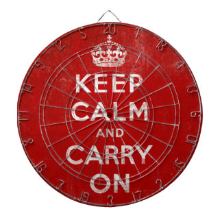 Keep Calm and Carry On Vintage Grunge Red Dartboard