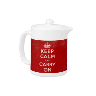 Keep Calm and Carry On, Vintage Red/White Teapot