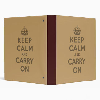 Keep Calm And Carry On Vinyl Binder