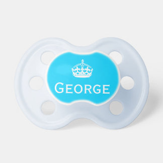 Keep Calm and Carry On White Crown on Blue Baby Pacifiers