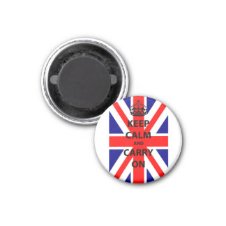 Keep Calm and Carry On with Background Flag Magnet