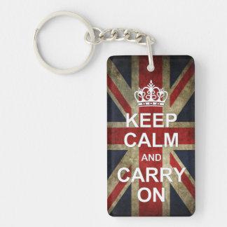 Keep calm and carry on - with Grunge British Flag Single-Sided Rectangular Acrylic Keychain