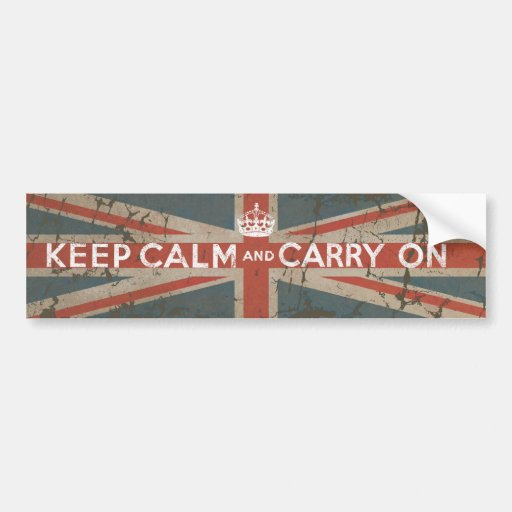 Keep Calm and Carry On with UK Flag Bumper Stickers