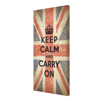 Keep Calm and Carry On with UK  Flag Gallery Wrapped Canvas