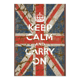 """Keep Calm and Carry On with UK  Flag 5"""" X 7"""" Invitation Card"""