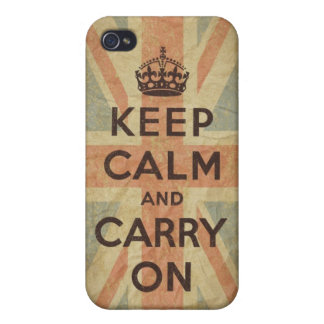 Keep Calm and Carry On with UK Flag iPhone 4 Covers