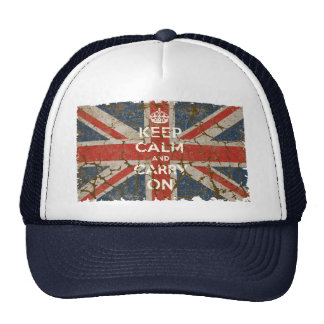 Keep Calm and Carry On with UK  Flag Trucker Hat