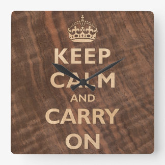 Keep Calm and Carry On Wood Veneer Square Wall Clock