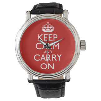 Keep Calm And Carry On Wrist Watches