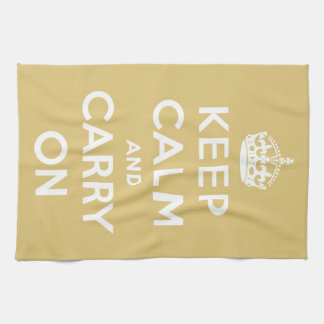 Keep Calm and Carry On Yellow Kitchen Towel