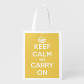 Keep Calm and Carry On Yellow Personalized Grocery Bag