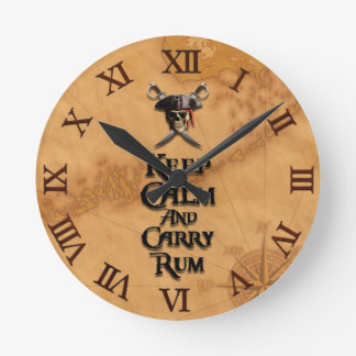 Keep Calm And Carry Rum Round Clock