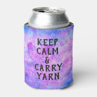 Keep Calm and Carry Yarn Purple Can Cooler