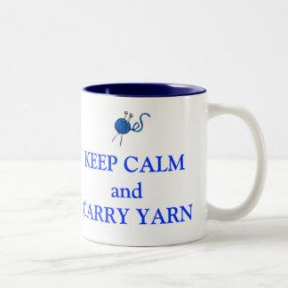 Keep Calm and Carry Yarn Two-Tone Coffee Mug