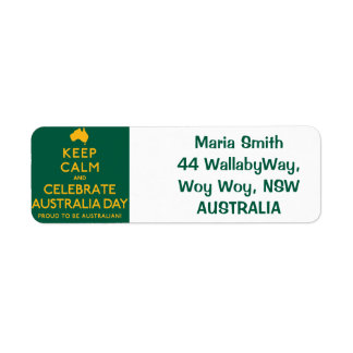 Keep Calm and Celebrate Australia Day! Return Address Label