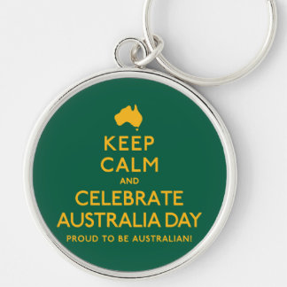 Keep Calm and Celebrate Australia Day! Silver-Colored Round Keychain