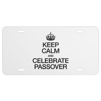KEEP CALM AND CELEBRATE PASSOVER LICENSE PLATE