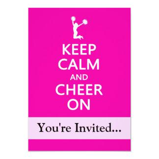 "Keep Calm and Cheer On, Cheerleader Pink 5"" X 7"" Invitation Card"