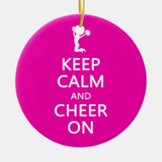 Keep Calm and Cheer On, Cheerleader Pink Ceramic Ornament