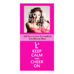 Keep Calm and Cheer On, Cheerleader Pink Photo Card Template