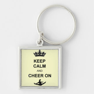 Keep calm and Cheer on Silver-Colored Square Keychain