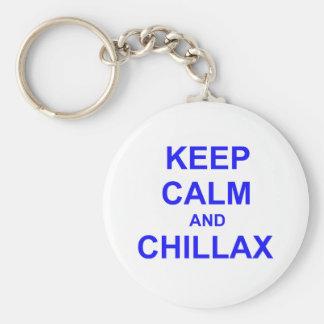 Keep Calm and Chillax black gray blue Keychain