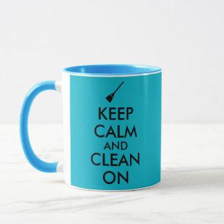 Keep Calm and Clean On Broom Custom Mug
