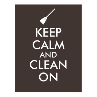 Keep Calm and Clean On Broom Custom Postcard